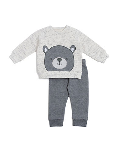 Chick Pea Two-Pieced Cotton Bear Sweater and Pants Set-GREY-24 Months