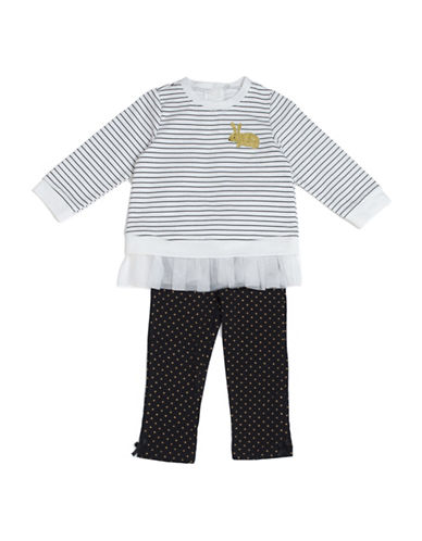 Kyle & Deena Two-Piece Striped Tee and Polka Dot Leggings Set-WHITE-24 Months