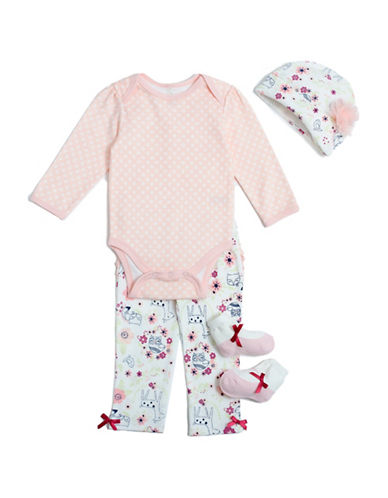 Chick Pea Four-Piece Deluxe Bodysuit Set-PINK-3-6 Months