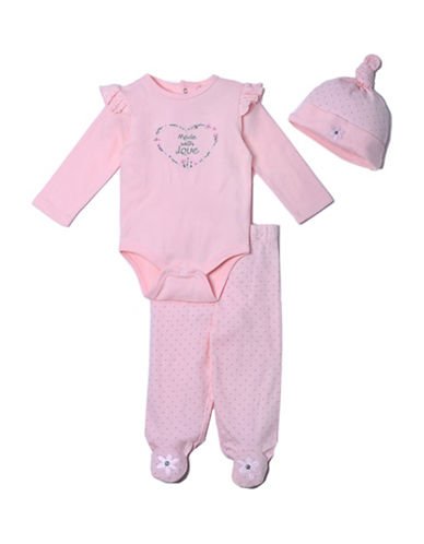 Kyle & Deena Three-Piece Cotton Beanie, Bodysuit and Pants Set-PINK-6-9 Months