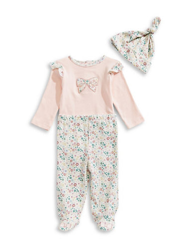 Kyle & Deena Two-Piece Floral-Print Cotton Bodysuit and Pants Set-CORAL-0-3 Months