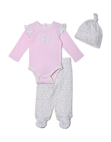 Kyle & Deena Three-Piece Cotton Bodysuit, Footed Pants and Cap Set-PINK-6-9 Months