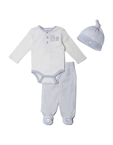 Kyle & Deena Three-Piece Bear Cotton Bodysuit, Footed Pants and Cap Set-GREY-0-3 Months