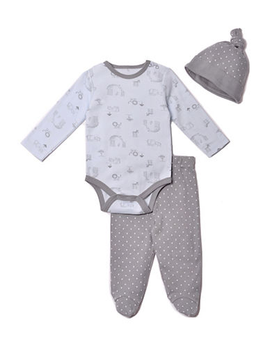 Kyle & Deena Three-Piece Safari Cotton Bodysuit, Footed Pants and Cap Set-BLUE-6-9 Months