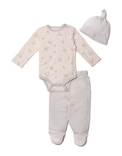 Kyle & Deena Three-Piece Fox Cotton Bodysuit, Footed Pants and Cap Set-GREY-3-6 Months