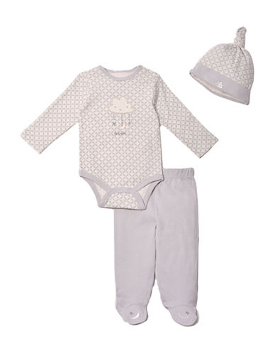Kyle & Deena Three-Piece Cloud Cotton Bodysuit, Footed Pants and Cap Set-GREY-6-9 Months