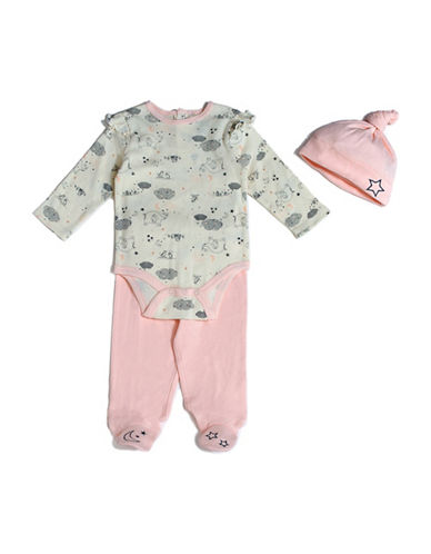 Chick Pea Three-Piece Elephant Cotton Cap, Bodysuit and Pants Set-PINK-6-9 Months