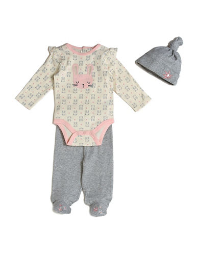 Chick Pea Three-Piece Bunny Cotton Cap, Bodysuit and Pants Set-GREY-0-3 Months