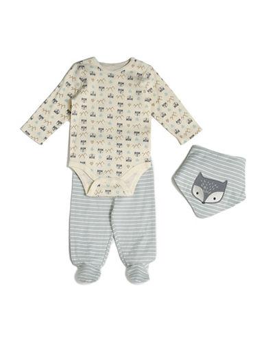 Chick Pea Three-Piece Fox Cotton Cap, Bodysuit and Pants Set-GREY-3-6 Months