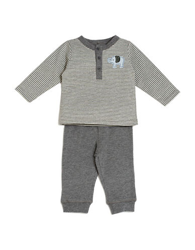 Kyle & Deena Two-Pieced Stripe Tee and Jogger Pants Set-GREY-12 Months