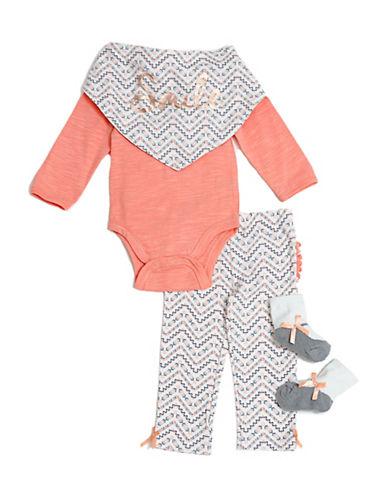 Chick Pea Four-Piece Deluxe Bodysuit Set-ORANGE-3-6 Months