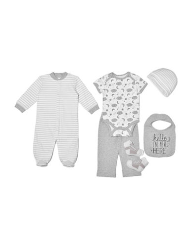 Chick Pea Six-Piece Cotton Footie, Bodysuit, Pants, Bib, Cap and Sock Set-GREY-0-3 Months