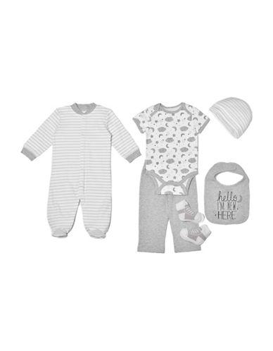 Chick Pea Six-Piece Cotton Footie, Bodysuit, Pants, Bib, Cap and Sock Set-GREY-3-6 Months