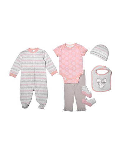 Chick Pea Six-Piece Multi-Pattern Clothing Set-PINK-3-6 Months