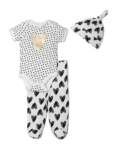 Chick Pea Three-Piece Heart Bodysuit Pant and Hat Set-WHITE-0-3 Months