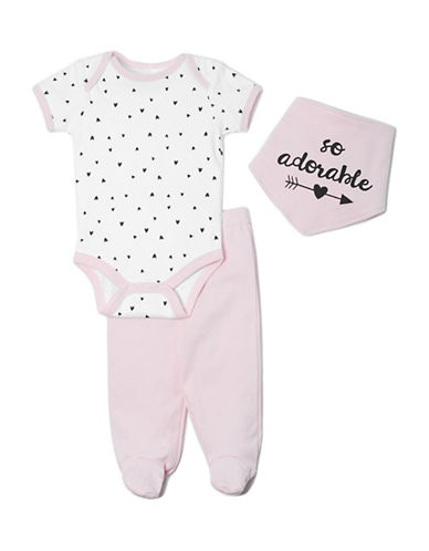 Chick Pea Three-Piece Cotton Bodysuit, Pants and Graphic Bib Set-PINK-0-3 Months
