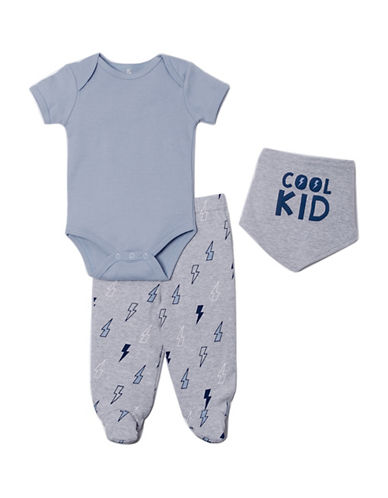 Chick Pea Three-Piece Cotton Bodysuit, Printed Pants and Graphic Bib Set-BLUE-3-6 Months