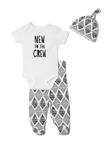 Chick Pea Three-Piece Cotton Graphic Bodysuit, Printed Pants and Bib Set-WHITE-6-9 Months