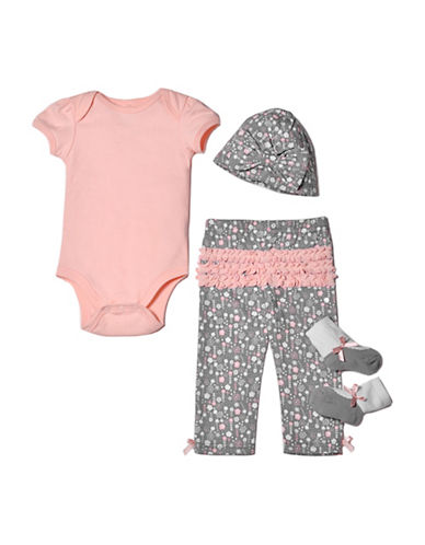 Chick Pea Four-Piece Deluxe Cotton Bodysuit, Socks, Pants & Cap Set-PINK-0-3 Months