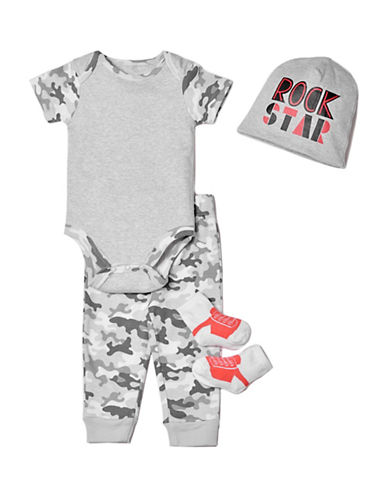 Chick Pea Four-Piece Deluxe Cotton Bodysuit, Socks, Pants & Cap Set-GREY-6-9 Months