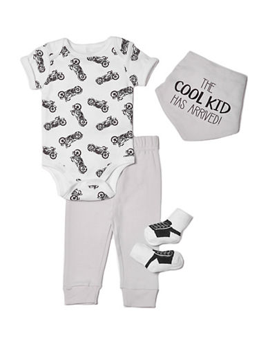 Chick Pea Four-Piece Deluxe Cotton Bodysuit, Socks, Pants and Bib Set-GREY-0-3 Months