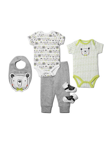 Chick Pea Five-Piece Bear Clothing Set-GREY-6-9 Months