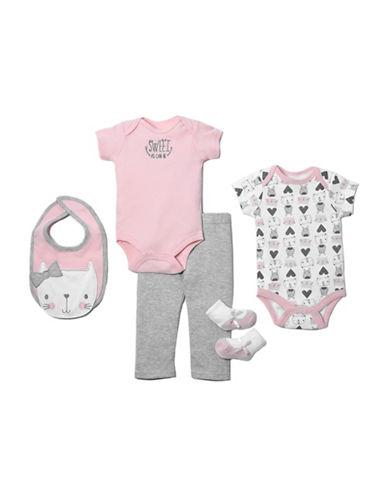 Chick Pea Five-Piece Cotton Cat Clothing Set-PINK-6-9 Months