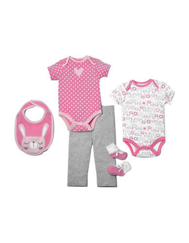 Chick Pea Five-Piece Cotton Bunny Clothing Set-PINK-6-9 Months