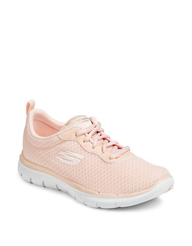 Skechers Flex Appeal 2.0 Newsmaker Lace-Up Sneakers-LIGHT PINK-8.5
