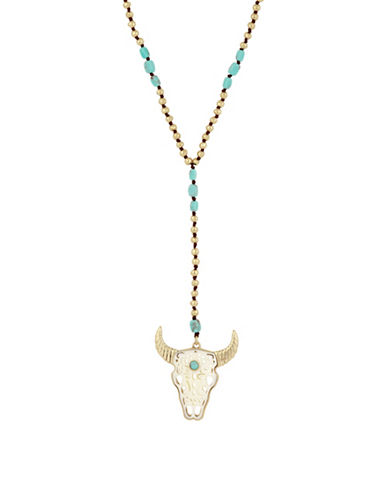 Lucky Brand Calcite and Crystal Bull Head Pendant Necklace-GOLD-One Size
