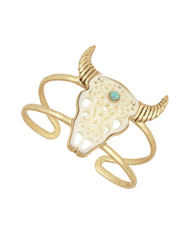 Lucky Brand Calcite Bull Head Cuff Bracelet-GOLD-One Size