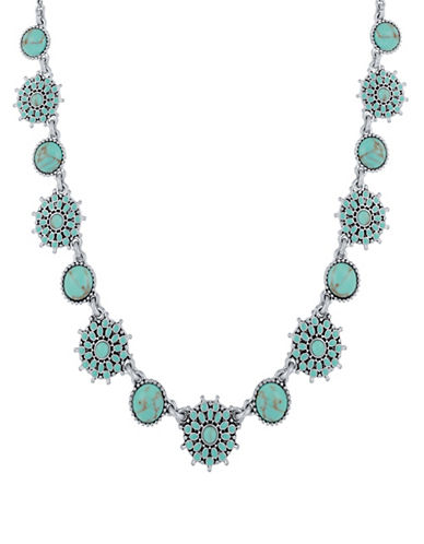 Lucky Brand Turquoise Crystal and Calcite Collar Necklace-TURQUOISE-One Size