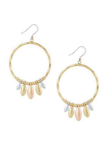 Lucky Brand Tri-Tone Dangle Hoop Earrings-TWO TONE-One Size