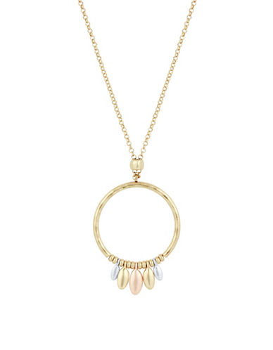 Lucky Brand Hoop Pendant Necklace-TWO TONE-One Size