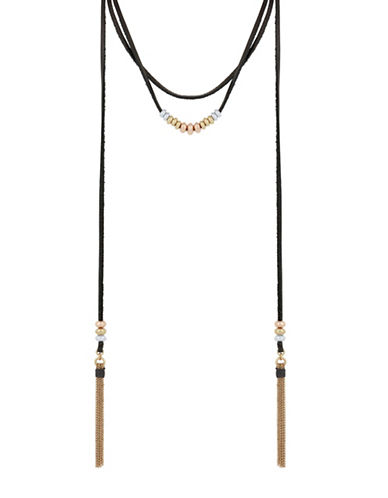 Lucky Brand Crystal Beaded Choker Necklace-TWO TONE-One Size