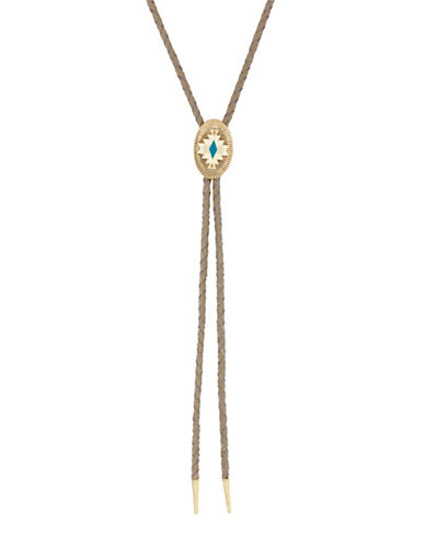 Lucky Brand Chevron Bolo Necklace-GOLD-One Size