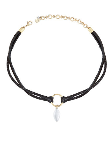 Lucky Brand Crystal Pendant Choker-TWO TONE-One Size