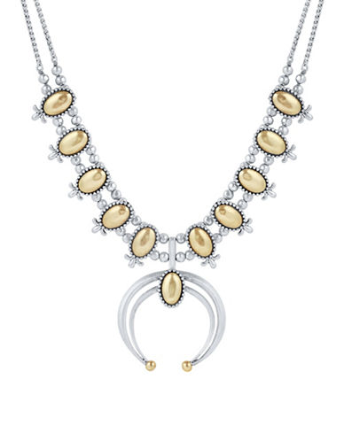 Lucky Brand Squash Blossom Crystal Necklace-TWO TONE-One Size
