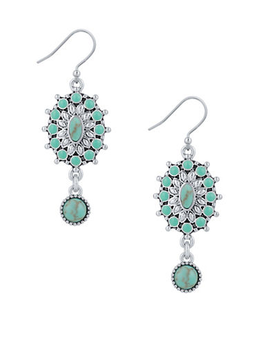 Lucky Brand New West Squash Blossom Dangle Drop Earrings-SILVER-One Size