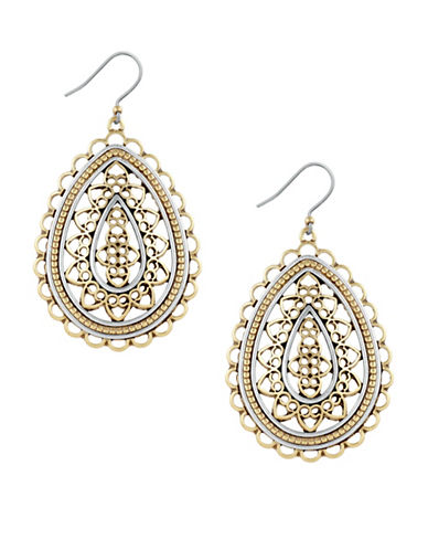 Lucky Brand Filigree Openwork Earrings-YELLOW-One Size