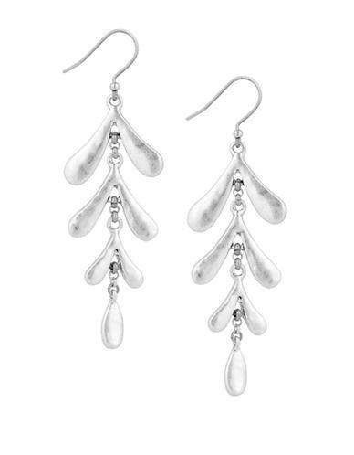Lucky Brand Leaf Motif Drop Earrings-SILVER-One Size