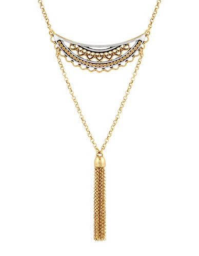 Lucky Brand Rock Crystal Openwork Three-Tier Pendant Necklace-YELLOW-One Size