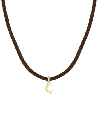 Lucky Brand Moon Crystal and Leather Choker Necklace-GOLD-One Size