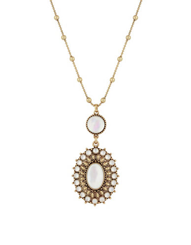 Lucky Brand Crystal, Calcite & Mother-of-Pearl Pendant Necklace-WHITE-One Size