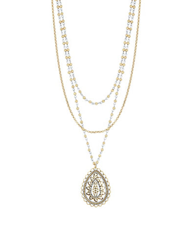 Lucky Brand Rock Crystal Openwork Pendant Layer Necklace-MULTI-One Size