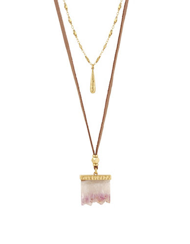 Lucky Brand Rock Crystal and Leather Double Necklace-GOLD-One Size
