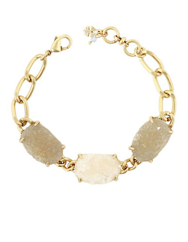 Lucky Brand Rock Crystal Link Bracelet-GOLD-One Size