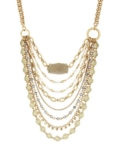 Lucky Brand Rock Crystal Chain Layer Necklace-GOLD-One Size
