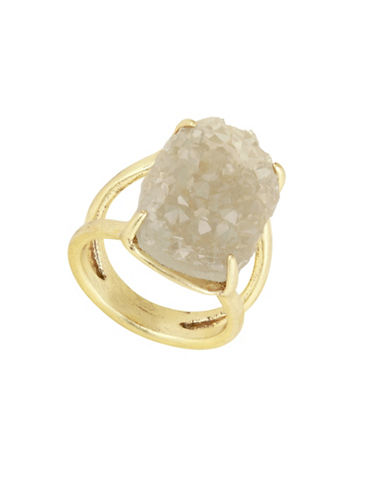 Lucky Brand Statement Rock Crystal Ring-GOLD-One Size