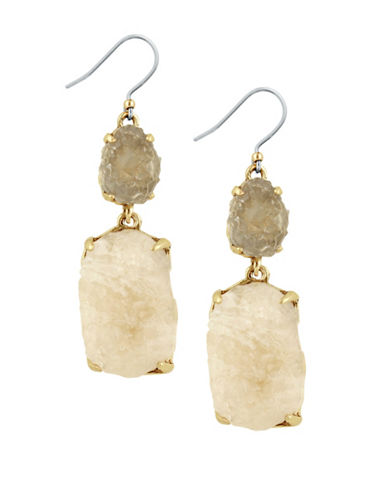 Lucky Brand Rock Crystal Link Drop Earrings-GOLD-One Size